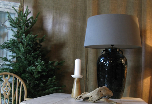 Ceramic lamp with  Linen lampshade