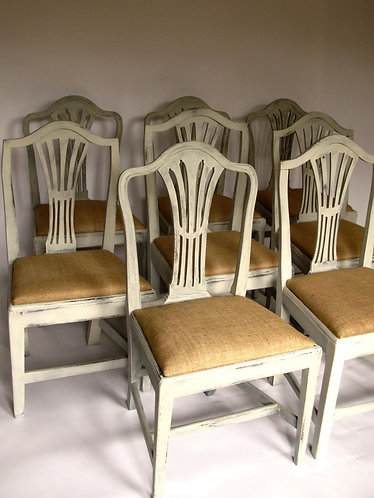 Harlequin set of 8 Antique chairs