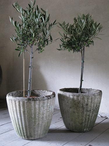 2 vintage stone planters