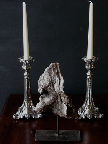 Silver plated baroque candlesticks