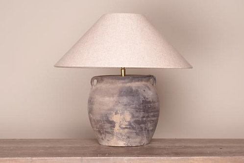 Old clay pot lamp