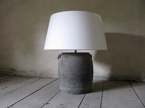 Clay pot with white linen lampshade  SOLD