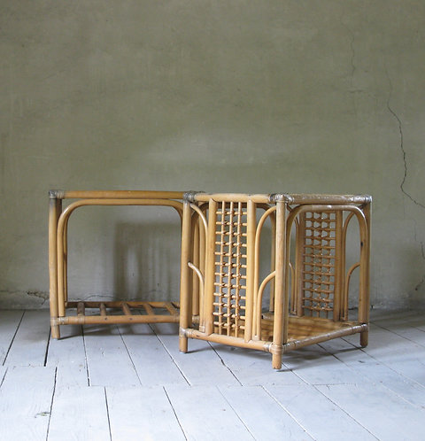 Pair of vintage bamboo tables