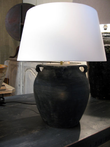 Lamp with linen shade