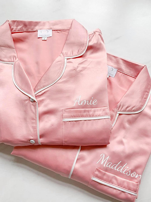 Monogrammed Satin Piped Pyjama Short Set With MetallicText