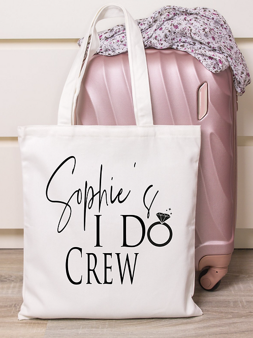 I Do Crew Personalised Tote Bag Metallic Text