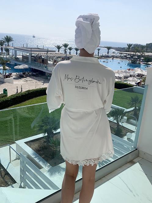 Paloma Mrs Abigail Satin Lace Personalised RobeMrs
