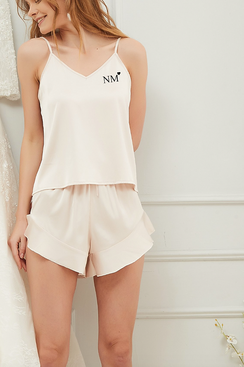 Monogrammed Heart Satin Ruffle Cami Set Metallic Text