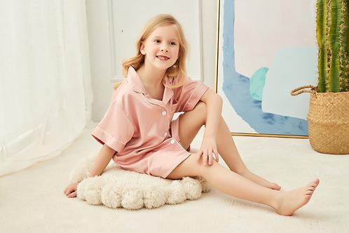 Childrens Sophia Satin Piped Pyjama Short Set