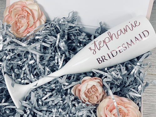 White Personalised Champagne Flute