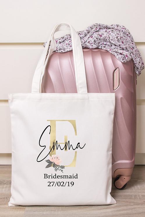 Gold Blush initial Personalised Tote Bag