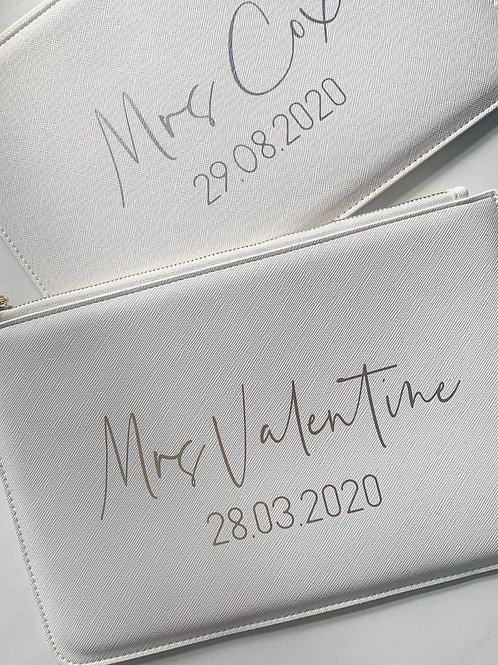 Personalised Mrs Date Boutique Clutch Bag
