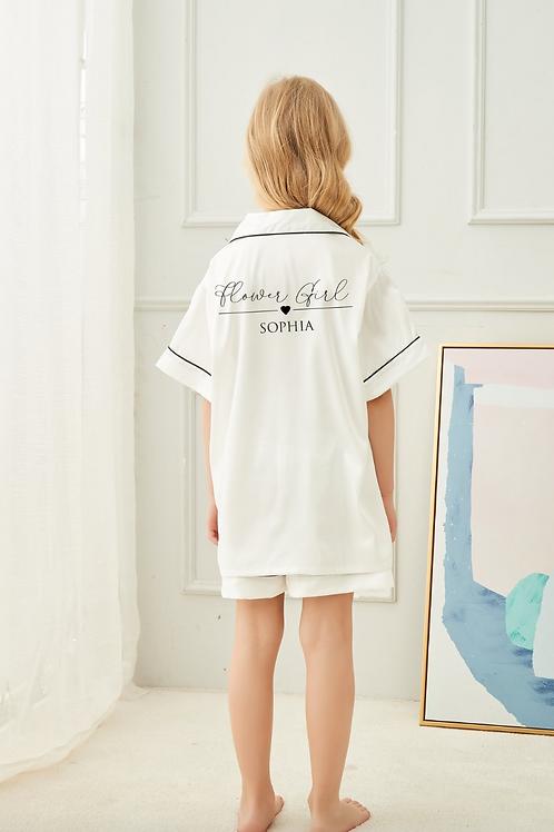 Childrens Sophia Satin Piped Pyjama Short Set With Metallic Text