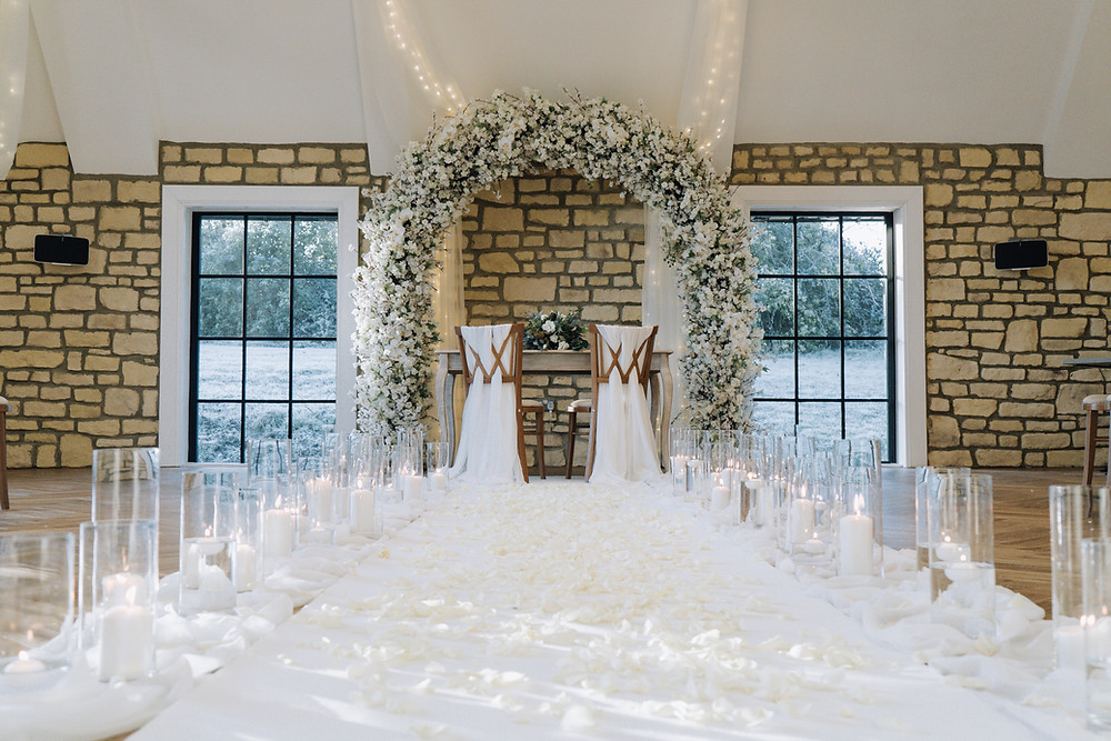 Blossom Tree Winter Wedding Arch Aisle Styling