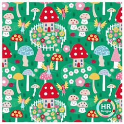 Fairy and toad stool print.