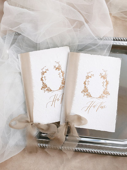 Vow Books with Taupe Silk Ribbons
