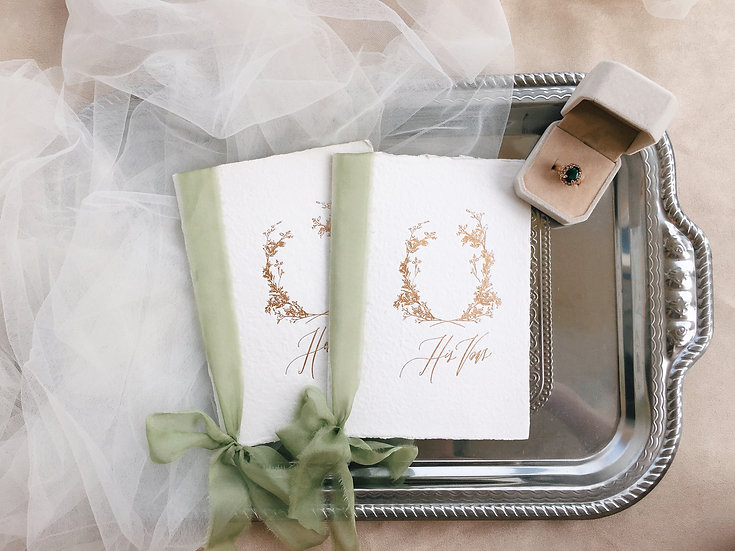 Vow Books with Sage Green Silk Ribbons