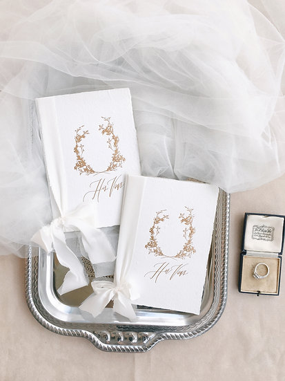 Vow Books with Warm White Silk Ribbons