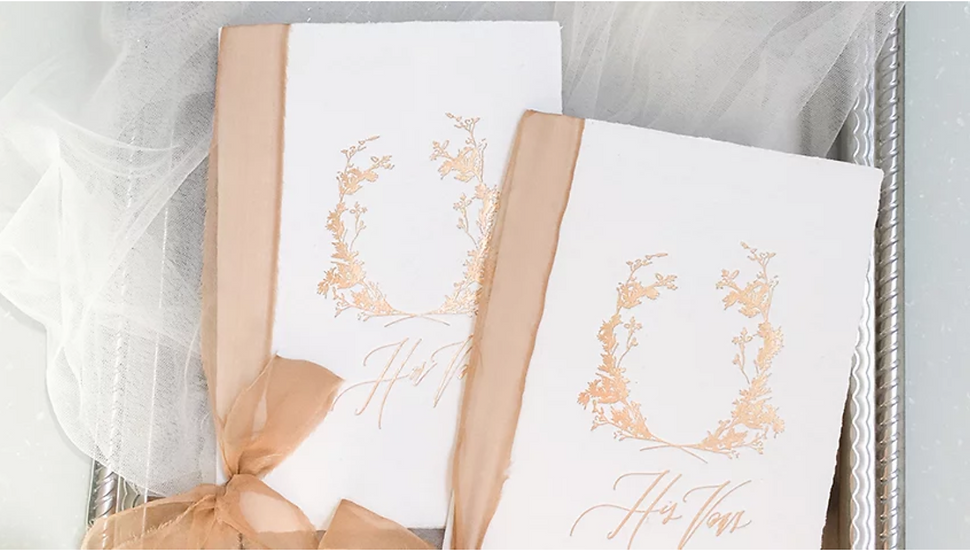 Vow Books with Rusty Gold Silk Ribbons