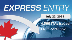 Latest Express Entry Draw: 357 CRS, 4,500 ITAs