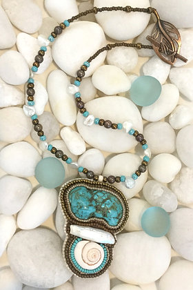 Bead Embroidered Turquoise & Pearl Necklace