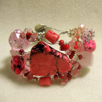 Pink turquoise and coral wire bracelet
