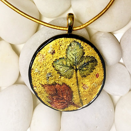 Leaves in Gold Polymer Clay Pendant