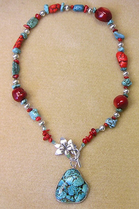 Turquoise and Chunky Red Coral Pendant Necklace