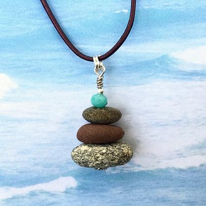 3 Stones & an Aqua Bead Necklace