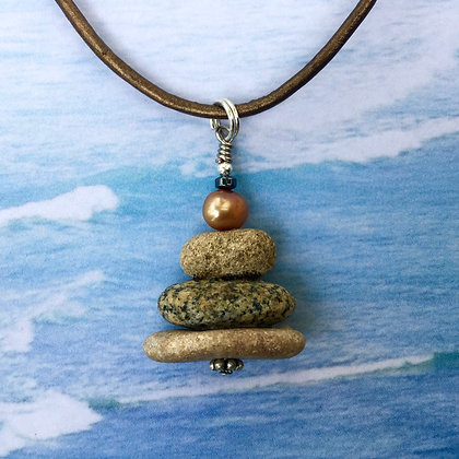 3 Stones & a Copper Pearl Necklace