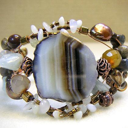 Striped Agate and Gemstone Bracelet