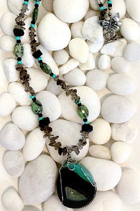 Large Druzy Agate Gemstone Necklace