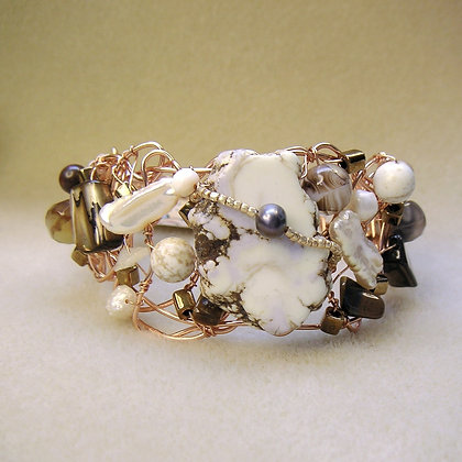 White Turquoise and Pearl Wire Bracelet