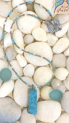 Light Blue and Crystal Druzy Necklace
