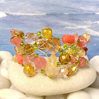 Salmon & Amber Bracelet