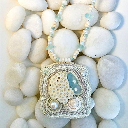 Bead Embroidered Free Form Pendant