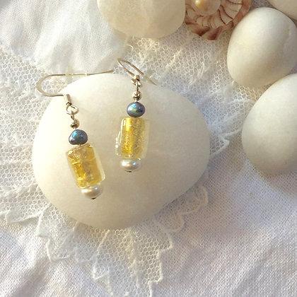 Gold Foil Glass Drop Earrings