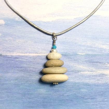 4 Ivory Stones w Pearl and Aqua bead