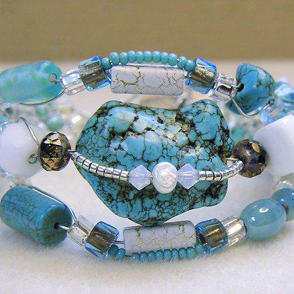 Turquoise and White Coral Bracelet