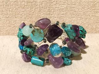 Purple & Turquoise Beaded Bracelet