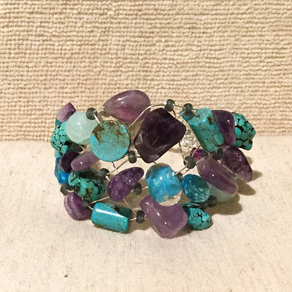 Amethyst, Turquoise and Glass Beaded Bracelet