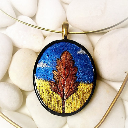 Painted Tree in Gold Polymer Clay Necklace