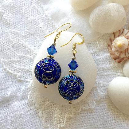 Gold and Blue Cloissenet Drop Earrings