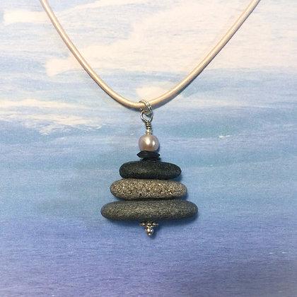 3 Grey Stones w Rose Pearl