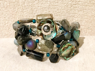 Pyrite Abalone Beaded Bracelet