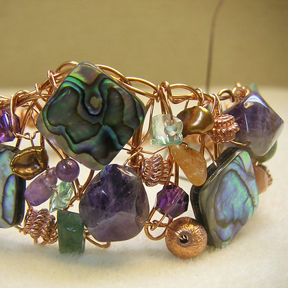 Amethyst and Abalone Copper Wire Bracelet