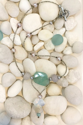Fluorite, Opalite  and Pearl Necklace