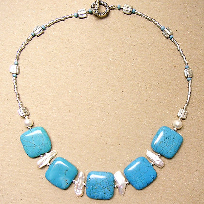 Turquoise and Stick Pearl Necklace