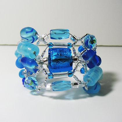 Aqua and blue glass bracelet