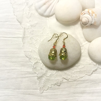 Green and Salmon Pink Earrings